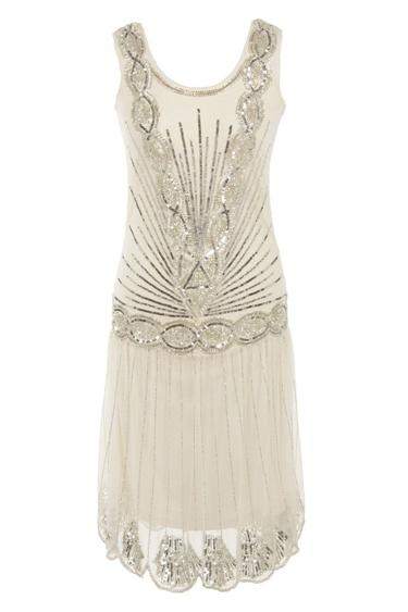 Vintage 1920s Sequin Flapper Gatsby Dress  - Off White | Embellished | Chiffon |