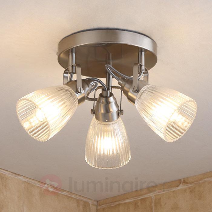 Plafonnier rond LED Kara salle d'eau verre texturé - Salle de bains
