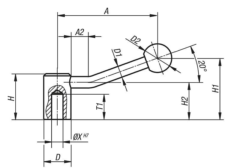 Poignée indexable - Leviers de blocage, manettes indexables