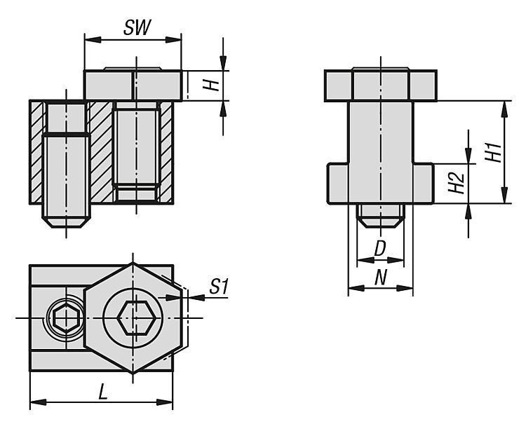 Module excentrique de serrage avec tasseau pour rainure en T - Excentriques de bridage