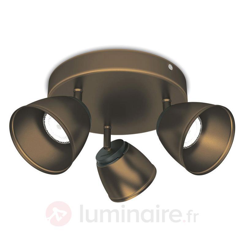 Plafonnier LED County rond, bronze - Spots et projecteurs LED