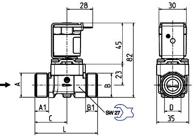 Servo-controlled solenoid valve NC, DN 10 - 01.010.523