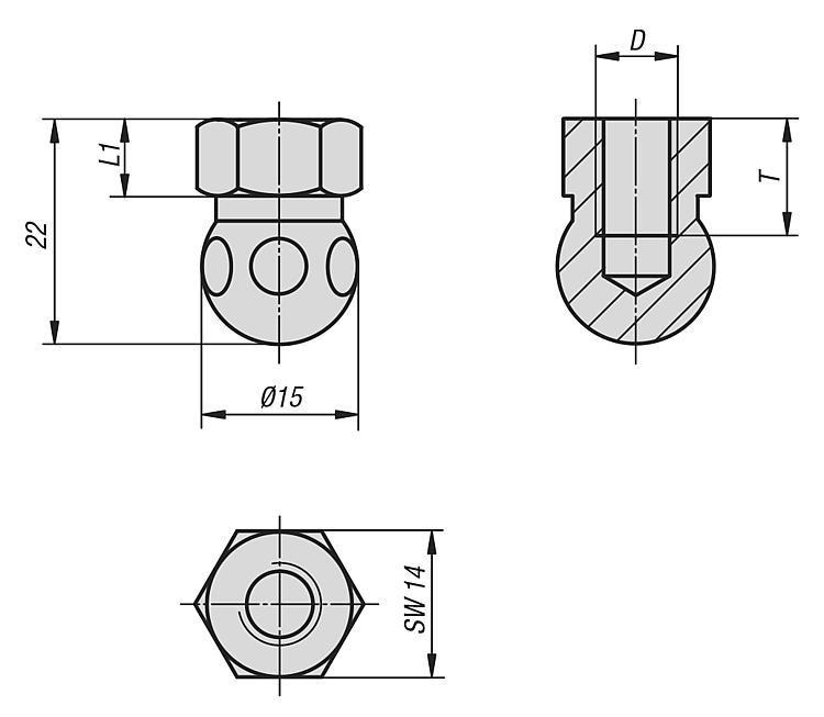 Teste a sfera con filettatura interna - K0422