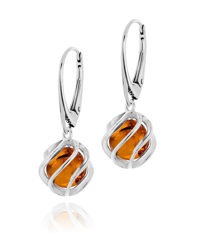 Silver earrings with amber -