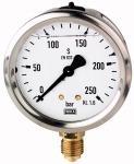 Glycerine pressure gauge, radial bottom, G 1/2, -1/+3... - Glycerine-filled pressure gauge, connection radial on bottom