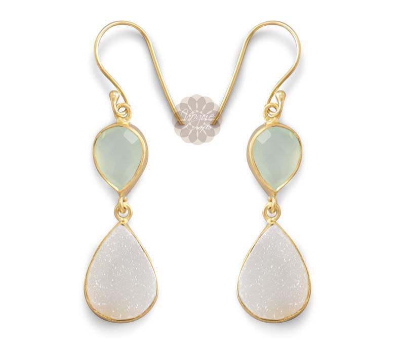 Druzy Drop Gold Earrings -