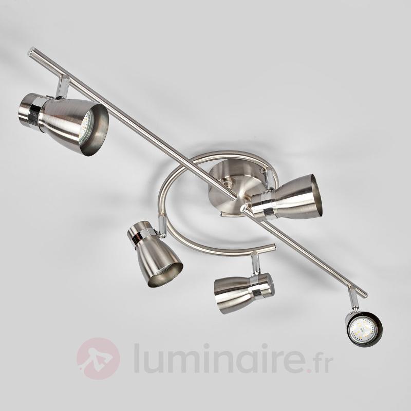 Plafonnier à cinq lampes Hilda, nickel mat - Tous les spots et projecteurs