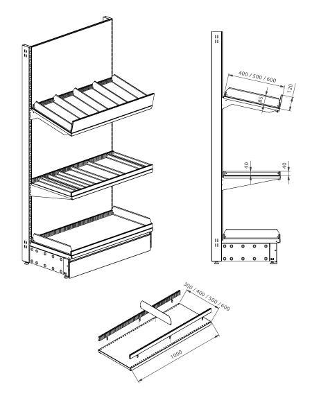 Modular shop rack systems & instore interior shelving design - Metal divider system for shelves