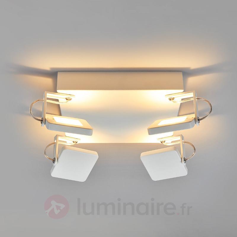 Plafonnier LED blanc Kena avec spots variables - Plafonniers LED