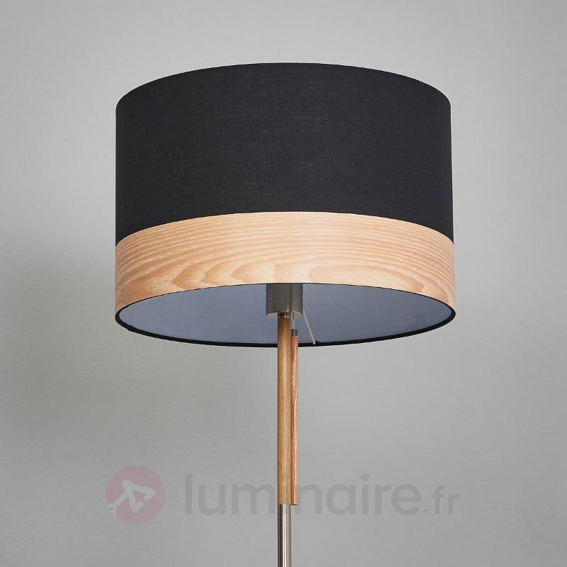 Lampadaire rond Libba textile, bois noir - Lampadaires en tissu