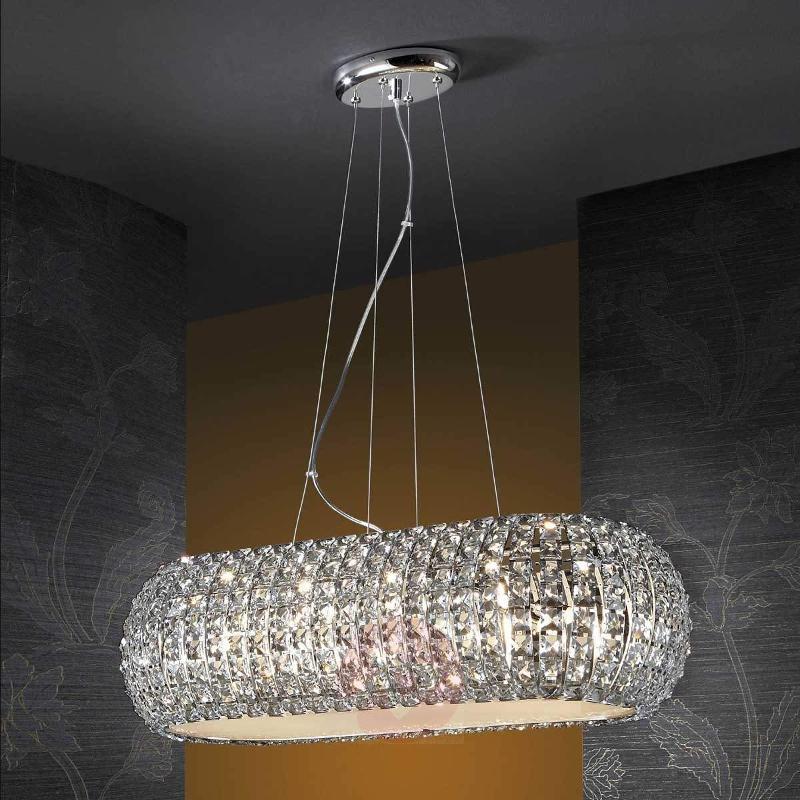 Long hanging light DIAMOND with crystals - Pendant Lighting
