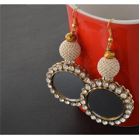 Hanging Earrings with Zircons Mirrors  - Zephyrr Fashion Hanging Hook Earrings with Zircons Mirrors Pearl Kundan Stones