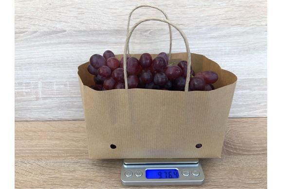 striped wet strength kraft paper grape bag with ventilation  - 100% brown wet strength kraft paper grape bag with ventilation and brown handle