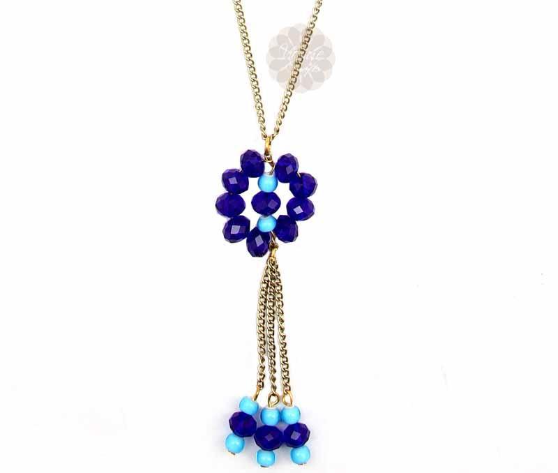 Blue Bead Contemporary Pendant -