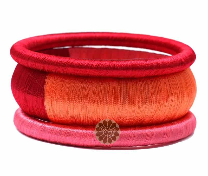 Multicolor Silk Bangle Stack -
