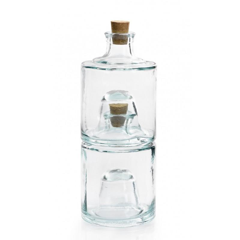 Stackable jar in glass 100% recycled  - with cork stopper