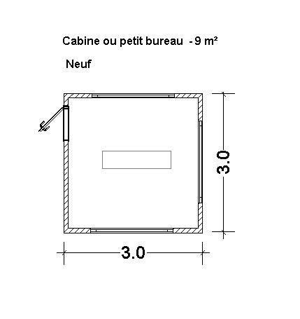 Constructions modulaires  - Cabine ou un petit bureau de 9 m²
