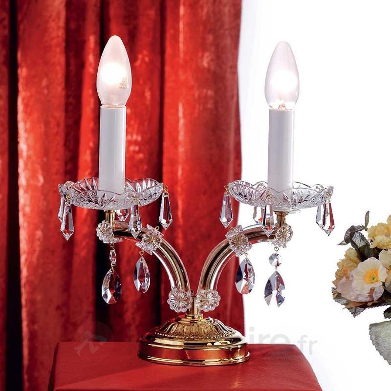 Lampe de bureau noble TJURA avec cristaux - Lampes à poser en cristal