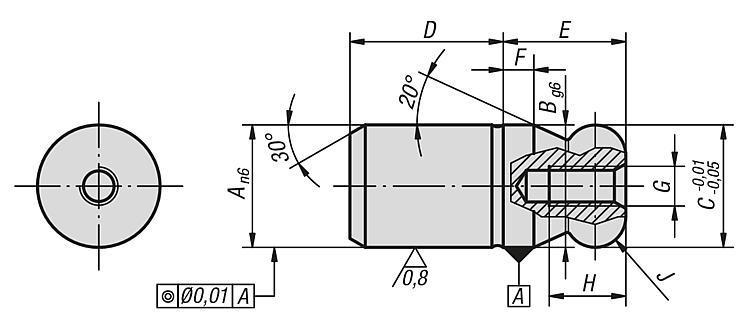Cimblot à bout sphérique forme A - Éléments de positionnement