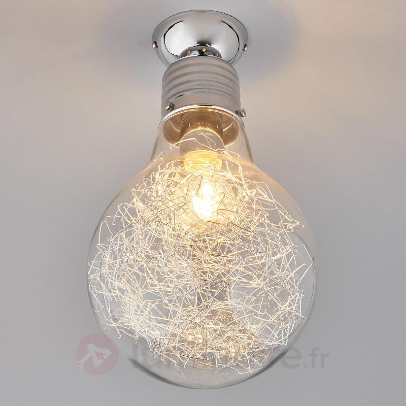 Plafonnier Rubi en forme d'ampoule à incandescence - Plafonniers chromés/nickel/inox