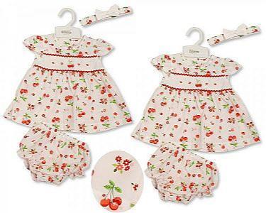 Baby Dress - Flowers and Cherries -