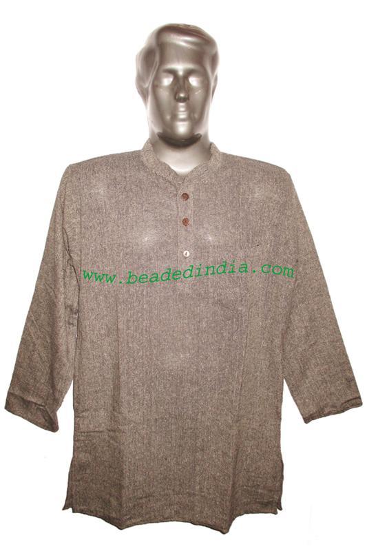 full sleeve long khadi yoga kurta, size : chest 48 x height  - full sleeve long khadi yoga kurta, size : chest 48 x height 34 inches (large).