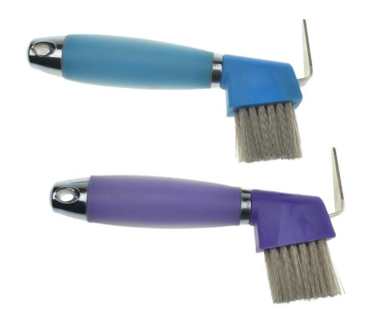 horse soft touch hoof pick - horse hoof pick with plastic handle and brush