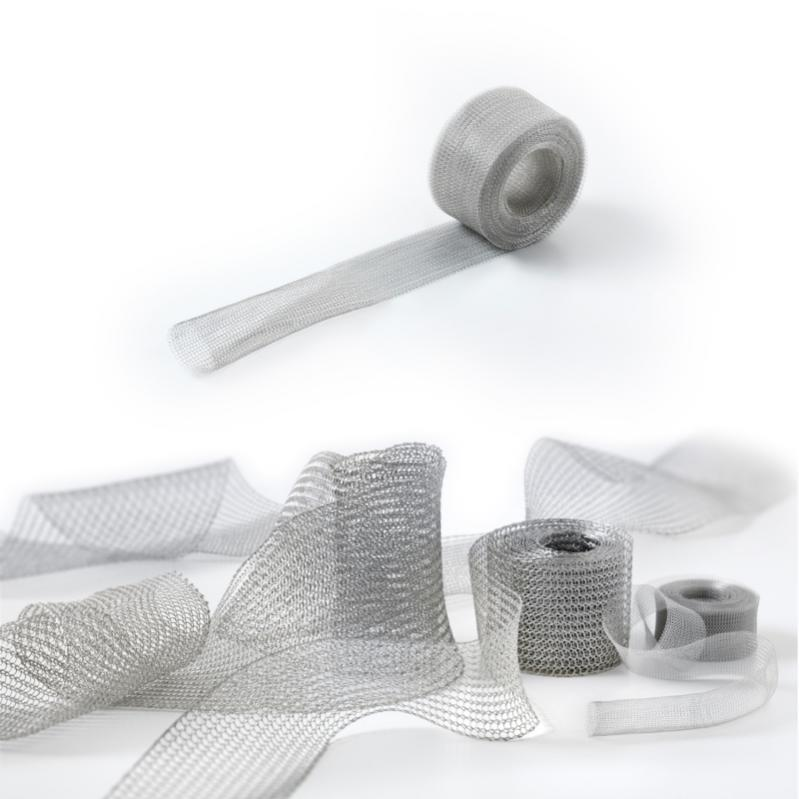 Tubular-knitted fabric for shielding - Flat-knitted copper tape for electrical shielding