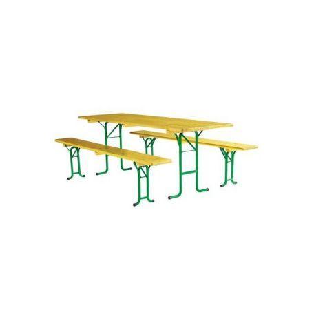 Ensemble Brasserie Tubulaire 2.20 X 80 Cm - Tables Et Bancs Brasserie