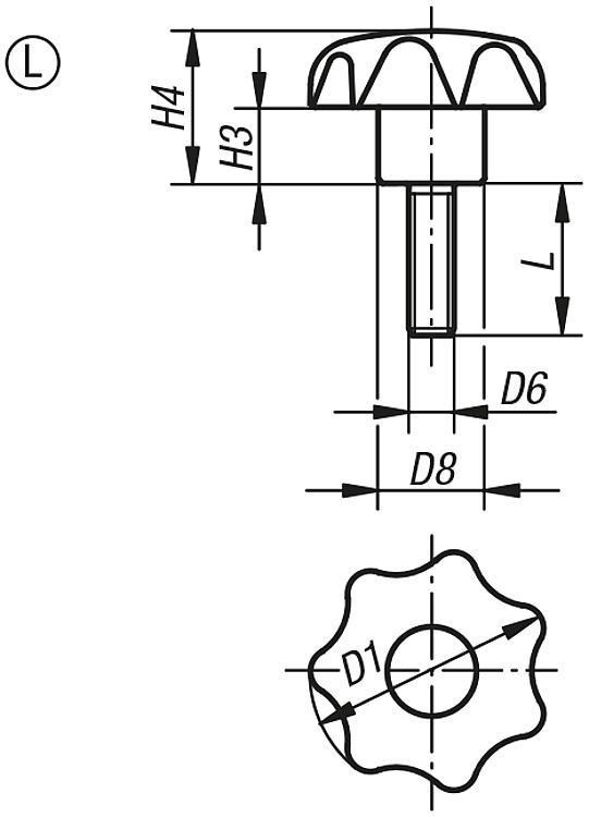 Bouton étoile antistatique similaires à DIN 6336 - Poignées et boutons