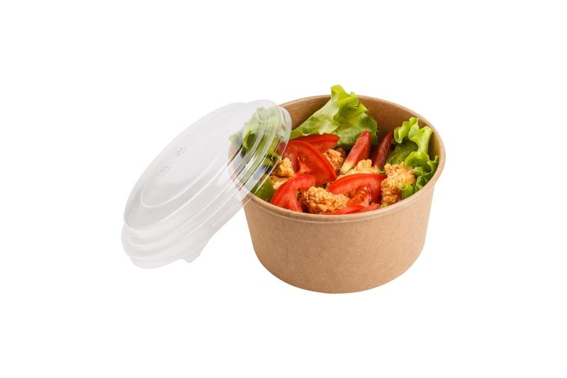 Round Paperboard Bowls with Transparent Lid - Kraft round box for salad