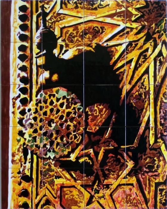Llamador antiguo de puerta - Mural de azulejos pintados a mano