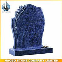 Germany Style Vizag Blue Granite Flowers Sculpture Tombstone