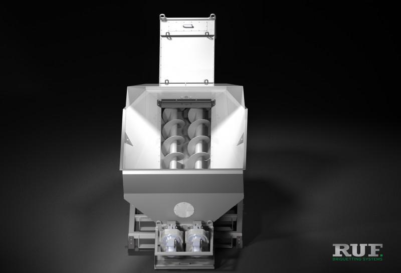 RUF Periphery:  Charging hopper, Screw conveyor - Charging hopper with screw conveyor for charging & transporting of bulk material