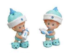 Bébé bonnet bleu - lot de 4 - Sujets pour baptême