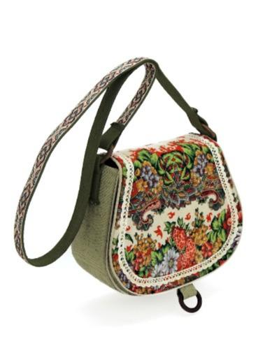 Molded handbag with  pavloposad shawl or tapestry -