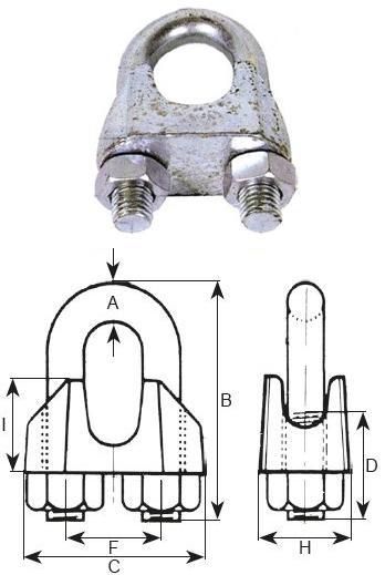 Cosses et serre-câbles - Serre-câble DIN 741 galvanisé ou inox