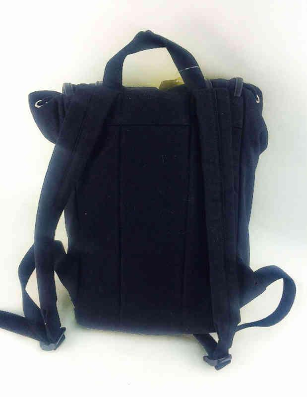 Black canvas backpack for women  - full printing color