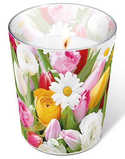 Glaskerze - Bunte Blumen