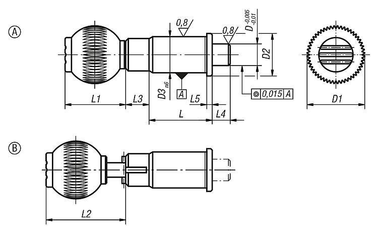 Doigt d'indexage de précision avec doigt d'arrêt cylindrique - Doigt d'indexage à corps lisse