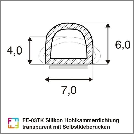 FE-03TK silicone hollow chamber seal transparent - Silicone hollow chamber seal with self-adhesive spine, transparent-Oddy tested