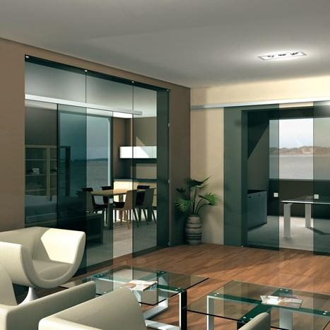 V-5103 - ceiling / wall, sliding door set with fixed glass support profile - Metalglas