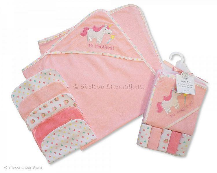 Baby Hooded Towel and Wash Cloth Set - Pink - Hooded Towels