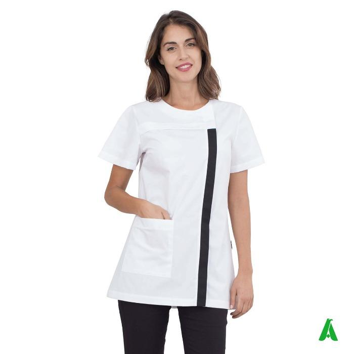 Casacca  per estetiste e centri wellness - Casacca donna con tasche e apertura zip nascosta per estetiste, centri benessere
