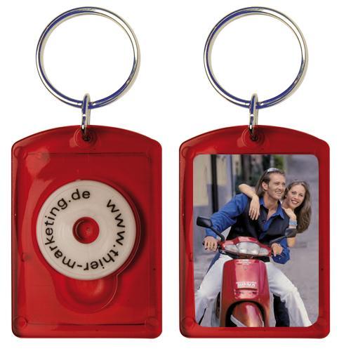 Foto- und Werbeschlüsselanhänger im Paßbildformat - Chip 2 Rot