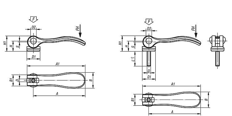 Cam levers internal and external thread - Steel or stainless - Cam clamps