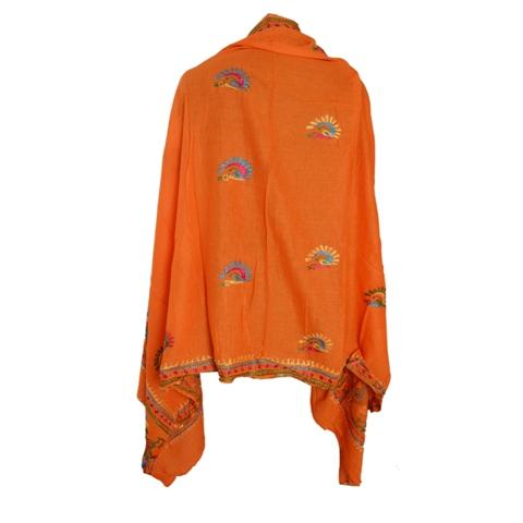 Hand Embroidered Georgette Ooak Dupatta - Sanskriti Vintage Dupatta Long Stole Georgette Ooak Hand Embroidered