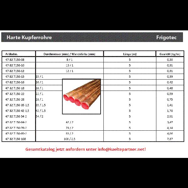 Kupferrohr - hart 54 x 2 mm 5 m 2.91 kg/m, EN 12735-1 - Kälte Montagematerial für Kältetechnik