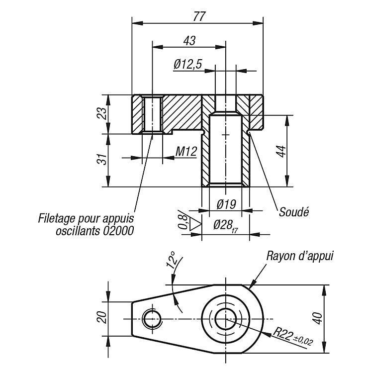 Vérin de bridage à guidage de précision - Bridages pivotants, crochets de serrage