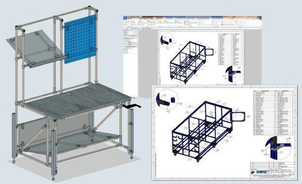 BEEVisio - Construction and drawing software for the pipe racking system of BeeWatec.
